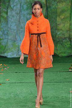 """авторское пальто ручной работы из шерсти и шелка """"цвет жизни"""" - рыжий"""