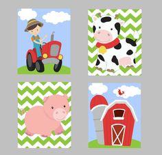 Farm nursery wall art print decor cow tractor barn by KalasKorner, $36.00