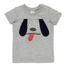 100% Cotton Tee. Slub, short sleeve t-shirt. Features novelty puppy face with applique ears and tongue; functional zip pocket. Regular fitting silhouette with snaps on baby's left shoulder for easy dressing. Available in Birch Marle and Vintage White.