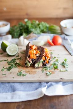 chipotle sweet potato, black bean, and guacamole tacos