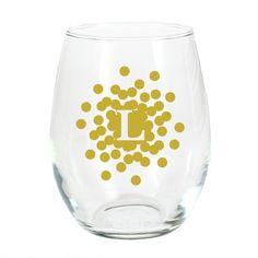 Gold Confetti Burst Initial Stemless Wine Glass