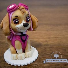 Skye from Paw Patrol as a free cake topper tutorial. She is now live and ready to watch (link in my Bio). Paw Patrol Sky Cake, Girls Paw Patrol Cake, Torta Paw Patrol, Ryder Paw Patrol, Paw Patrol Cake Toppers, Paw Patrol Birthday Cake, Paw Patrol Party, Paw Patrol Figures, Paw Patrol Characters