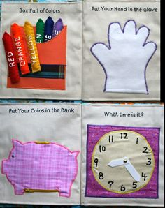 Things I Like To Make: Quiet Book Pages I've Made - Box of Crayons, 5 Fingered Glove, a zippered piggy bank, and a Clock to Tell Tiime