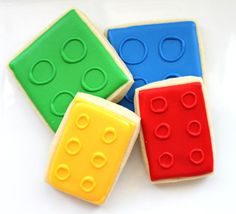 Lego Cookie Favors. For more party inspiration visit Get The Party Started on Etsy at www.getthepartystarted.etsy.com
