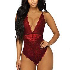 7383b008b Aranmei Women Deep V Sexy Lace Bodysuit Snap Crotch Lingerie Teddy Underwear  at Amazon Women s Clothing