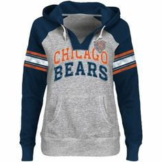 Chicago Bears Ladies Huddle III Pullover Hoodie - Ash/Navy Blue/Orange