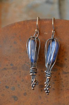 rustic, unusual oxidized copper earrings with blue kyanite and sterling silver earwires
