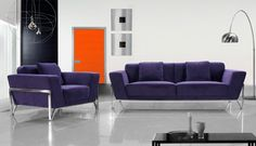 Modern Fabric Sofa Set furniture in Purple - $1266 -- Features: Extended chrome support frame #sofa #furniture #LAfurniture #couches sofas #Furnituredesign #HomeDecor #SofaSet  #fabricsofa