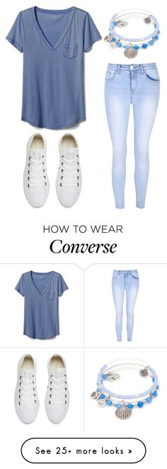 """""""Simple... but cute"""" by lfrye2080 on Polyvore featuring Alex and Ani, Gap, Glamorous and Converse"""