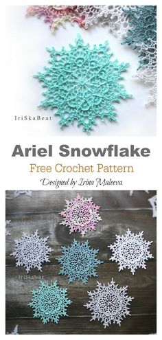 irish crochet flowers This Snowflake Christmas Ornaments Free Crochet Pattern will bring some of winters wonderful whiteness into your home. Crochet Motifs, Crochet Flower Patterns, Thread Crochet, Crochet Crafts, Crochet Doilies, Crochet Flowers, Crochet Projects, Knit Crochet, Knitting Projects