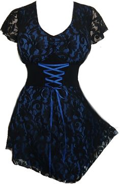 Plus Size Blue and Black Lace Sweetheart Corset Top  http://www.mysticcrypt.com/plus-size-blue-and-black-lace-sweetheart-corset-top-p-1070.html