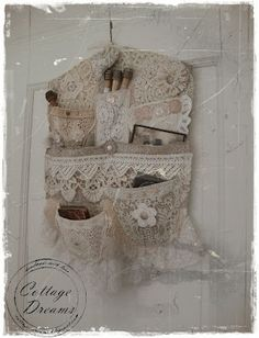 lace hanger pocket, using vintage buttons, lace and fabrics- inspiration