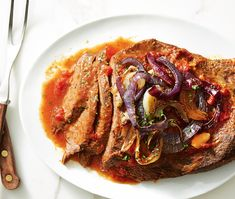 Two-step slow-cooked brisket: Make a fresh and delicious dinner in less time than you'd need to order takeaways Banting Recipes, Low Carb Recipes, Slow Cooked Brisket, Roasted Onions, Large Slow Cooker, Good Food, Yummy Food, Good Housekeeping, Crockpot Recipes