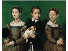 Sofonisba Anguissola, Protrait of the Artist's Sisters and Brother, ca. 1555. Oil on Panel, Methuen Collection, Corsham Court, Wiltshire. Mannerism. The artists is a leading female painter at the time. In this drawing, she drew her family members for private showing instead of official display. The characters was depicted with affectionate postures and relaxing expressions through the  her sympathetic personal presentation. (Kleiner, 614)