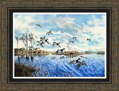 Lake Okeechobee Framed Print featuring the painting Lake Okeechobee-ring-neck Ducks After The Rains by Daniel Butler