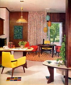 1965 Interior Decorating Design Eames Knoll Wormley Mid Century Modern Design   (like lights in stairs)