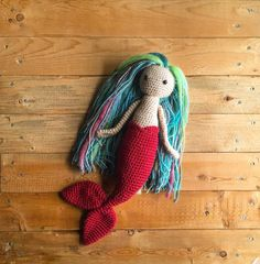 Red Crochet Mermaid Coral the Mermaid by MyWildflowerLilly on Etsy