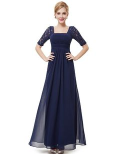 Ever Pretty Womens Half Sleeve Square Neckline Evening Dress 4 US Navy Blue