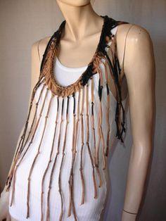 shredded braided fringed upcycled recycled tshirt necklace , jersey necklace. $25.00, via Etsy.