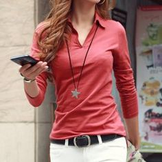 Casual Polo Collar Long Sleeves Solid Color T-Shirt For Women>>PFX shirt options
