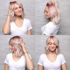 Pink roots _ faded to blonde