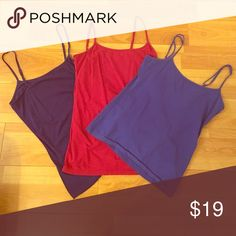 Tank top bundle 3 cute tank tops in red, blue and purple. Adjustable straps. 14th & Union Tops Tank Tops