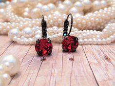 Temptress, Swarovski Crystal 8mm Lever Back Earrings,Red, Hematite Black Setting, Great Gift, Dangles, Drops, DKSJewelrydesigns