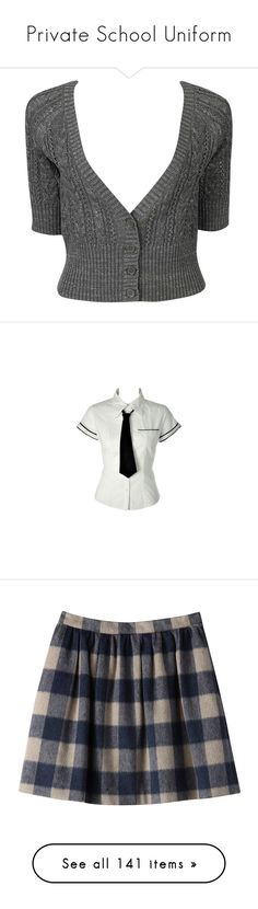 """Private School Uniform"" by cherubicwindigo ❤ liked on Polyvore featuring tops, cardigans, sweaters, outerwear, metallic cardigan, forever 21 tops, v neck cardigan, cardigan top, short sleeve cardigan and t-shirts"