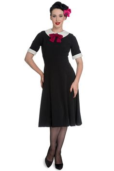 Hell Bunny Prep-school Style Black Short Sleeve Burgundy Bow Tie Dress