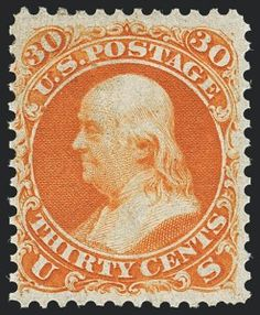 Sale Number 1129, Lot Number 343, 1861 Issue First Designs and Colors30c Red Orange, First Color (61), 30c Red Orange, First Color (61)