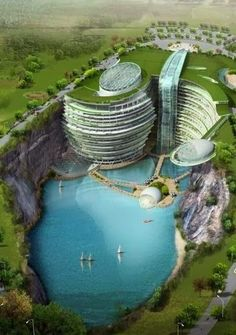 Songjiang Hotel, Songjiang, Shanghai, China Wanderlustdust | adventure travel strategies and bus-life blog. Head to the website to sign up for our FREE report!  This awesome concept pic is of the Songjiang Hotel in china which is presently under construction. It is being built in an old quarry and features a made made waterfall & lake.