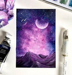 40 Detailed Miniature Painting Ideas – Bored Art – Welcome Galaxy Painting, Galaxy Art, Blue Painting, Night Sky Painting, Painting Inspiration, Art Inspo, Arte Sketchbook, Spray Paint Art, Nature Artwork