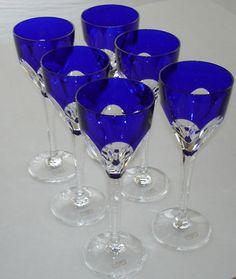 HERMES SAINT LOUIS CRYSTAL BRISTOL BLUE HOCK WINE GLASSES SET OF 6   eBay