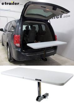 Sturdy, lightweight and hitch-mounted table is perfect for RV campsites. Table adjusts to dining and bar height, folds up for storage and transport and tilts for easy access to vehicle rear.