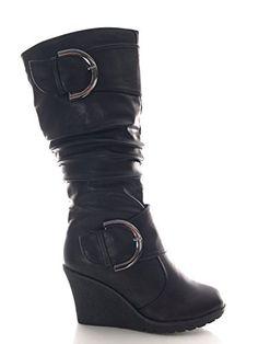 Damen Keilabsatz Stiefel warm gefüttert Schwarz ca. 8 cm Absatzhöhe # 2013…