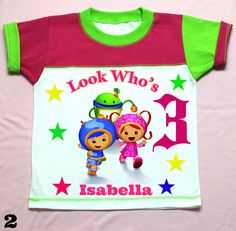 Team Umizoomi Girls T-shirt Fuchsia and Green Personalized 12M,18M, 2nd 3rd 4th 5th 6th Personalization is included at no additional cost.