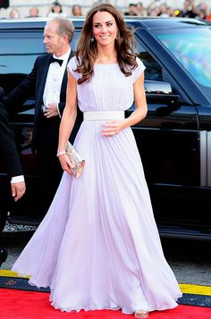 Kate Middleton's Most Memorable Outfits Ever!  July 9, 2011  Catherine Middleton made an appearance at the BAFTA 'Brits to Watch' event in a pale lavender Alexander McQueen gown. She accessorized with glittery champagne-hued sandals and matching clutch, both by Jimmy Choo, and diamond chandelier earrings, loaned to her by Queen Elizabeth.