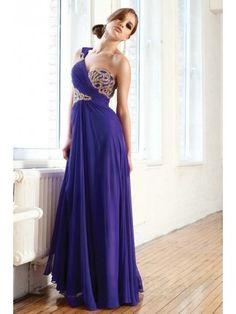 Beautiful Royal Blue Chiffon Evening Dress