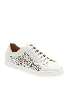 Men's Laser-cut Logo Low-Top Sneakers by Fendi at Neiman Marcus Laser Cut Patterns, Mens Trainers, Mens Fashion Shoes, Laser Cutting, Neiman Marcus, Fendi, Nike Shoes, Footwear, Lace Up