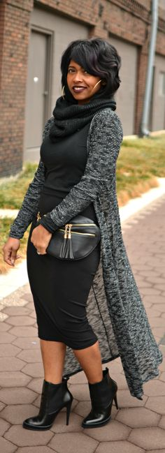 Black Skirt - Maxi Cardigan - Fall 2014 #streetstyle