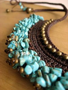turquoise crochet necklace, use stash of irregular beadsturquoise crochet necklace Like the color combo of turquoise and brown.Il colore e& poesia dell&The Stylish Gypsy Bead Crochet, Crochet Necklace, Beaded Necklace, Beaded Bracelets, Necklaces, Beaded Beads, Beaded Jewelry, Handmade Jewelry, Textile Jewelry