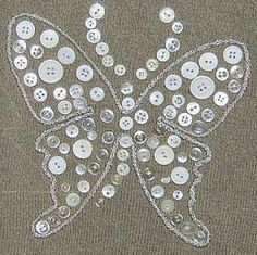 If your creative hands are itching to make super easy and fast craft projects, then this list of easy crafts to make and sell . Butterfly Quilt, Butterfly Art, White Butterfly, Butterflies, Diy Buttons, Vintage Buttons, Sewing Projects, Craft Projects, Diy And Crafts