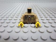 LEGO Dark Tan Minifig Torso Shirt Button Down with Pockets, Radio, Badge and Dark Brown Belt Pattern / Dark Tan Arms / Yellow Hands x1 Loose
