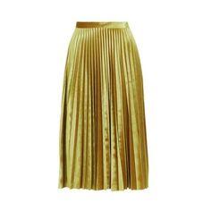 TopShop Velvet Pleat Midi (130 CAD) ❤ liked on Polyvore featuring skirts, gold, brown skirt, velvet skirt, calf length skirts, brown midi skirt and full pleated skirt