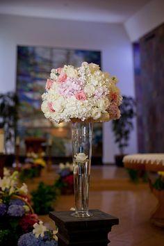 Tall-White-Hydrangea-Pink-Rose-Centerpiece | Rose centerpieces ...