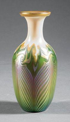 "Quezal Iridescent Art Glass Vase, c. 1925, signed ""Quezal"" and ""B753"""