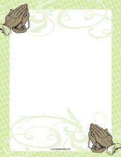 This printable rosary border features religious, pretty swirls, and hands folded in prayer. Free to download and print.