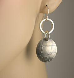 sterling silver roller printed domed earrings MikelenesJewelry.etsy.com..sold