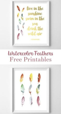 feather printable art | feather art | wall art | free printables | home decor | quote printable