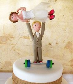 Crossfit wedding cake fitness weights unique funny character figurine cake rustic hessian